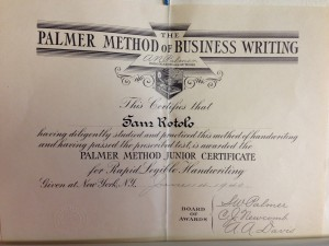 Palmer Writing Certificate